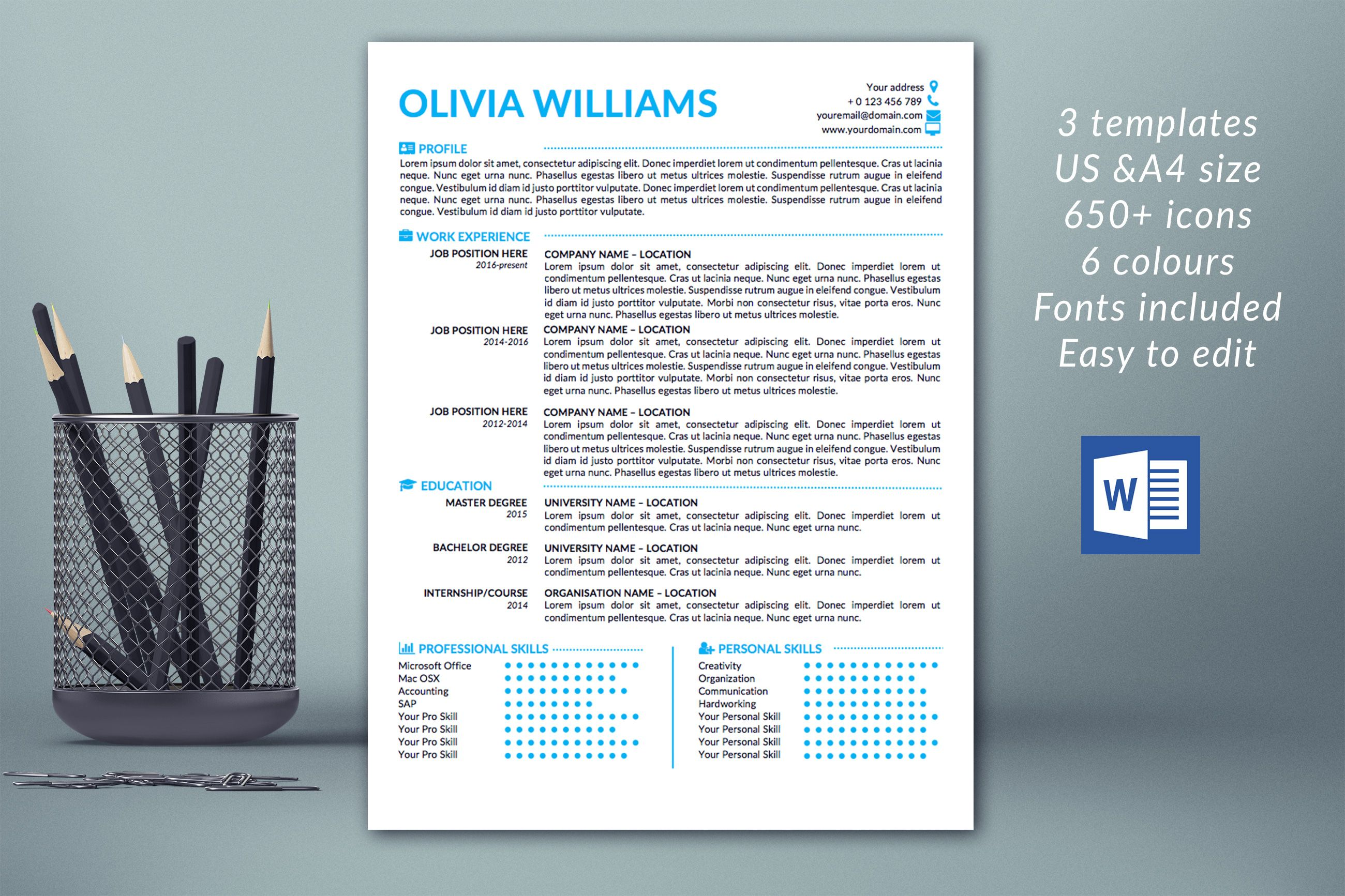 Resume template instant download   CV Template   Professional ...