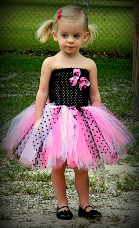 Minnie Mouse Tutu Dress In Pink White And Black Polka Dots