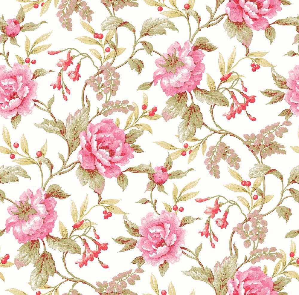 Pt71271 Peony Trail Country Floral Wallpaper Warner Wallpaper