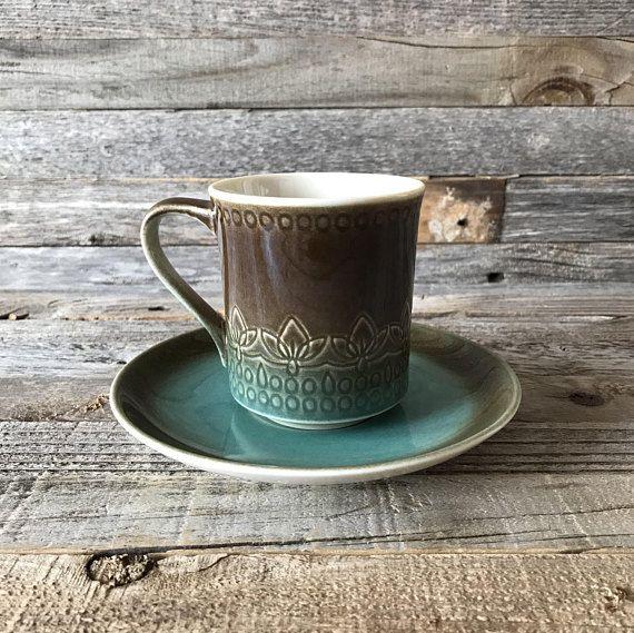 Set Of 4 Vintage Syracuse Trinidad Flat Cup And Saucers