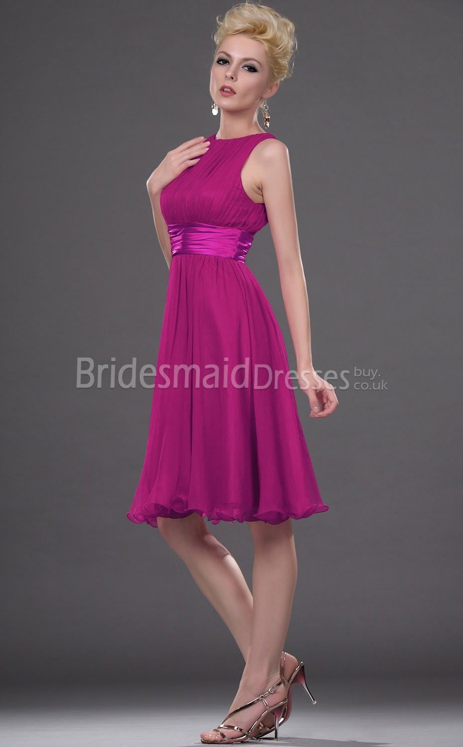 Satin Chiffon Cheap Aline Jewel Short Sleeveless Fuchsia Bridesmaid Dressesred Dressesshort Dresses: Magenta Short Wedding Dresses At Websimilar.org