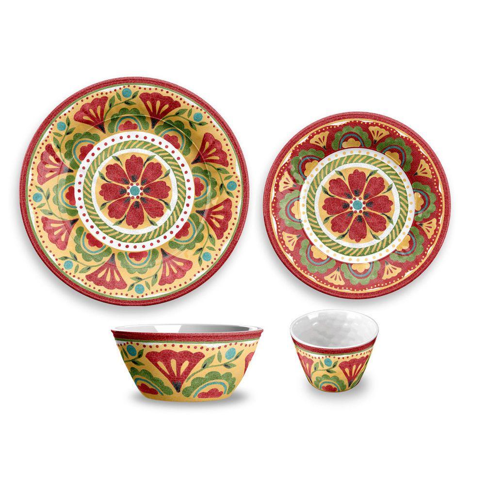 carmen medallion 16 piece melamine dinnerware set by tar hong