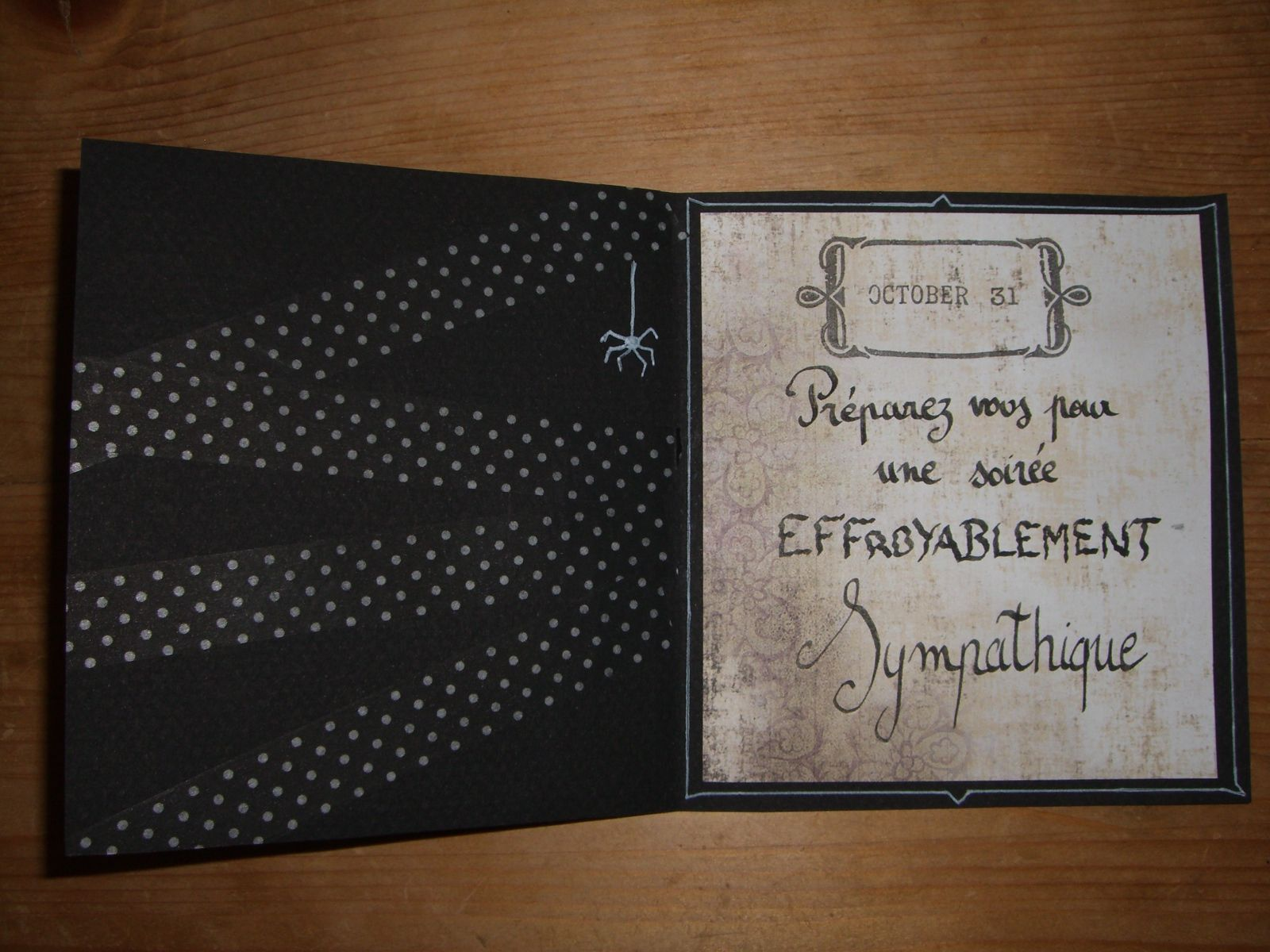 Halloween invitation made of black carton paper+masking tape+scrapbooking paper+stamp for date and frame