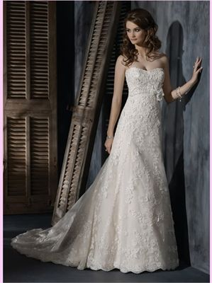 Ivory A Line Strapless Lace Wedding Dress