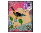 Blue Bird Art Print - 8x10 Colorful Art  - Mixed Media Collage - Painting