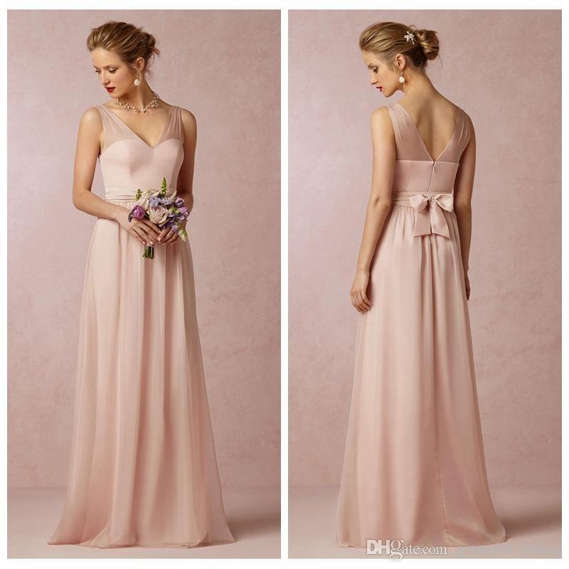 2014 Blush Chiffon Bridesmaid Dress Sheer Long A line Floor Length ...