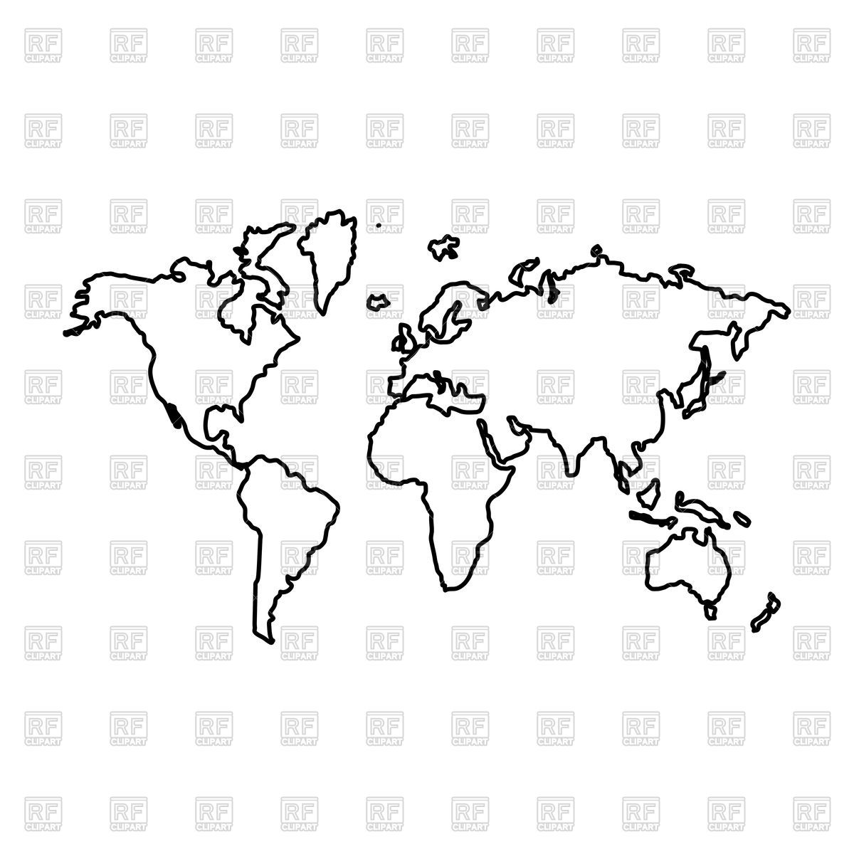 Download Royalty Free World Map Outline Vector Image 173110 From Rfclipart Illustrations Vector Artwork Of World Map Outline World Map Tattoos World Outline