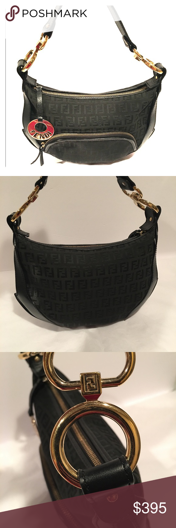 ceabffd7f2f5 Fendi Zucca Canvas   Leather Monogram Hobo -Small  Crafted of black FF Zucca  monogram canvas with black leather trim. Preowned