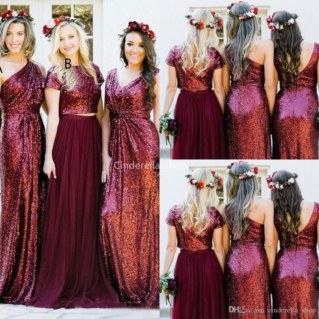 Charming Burgundy Sequined Long Bridesmaid Dresses 2019