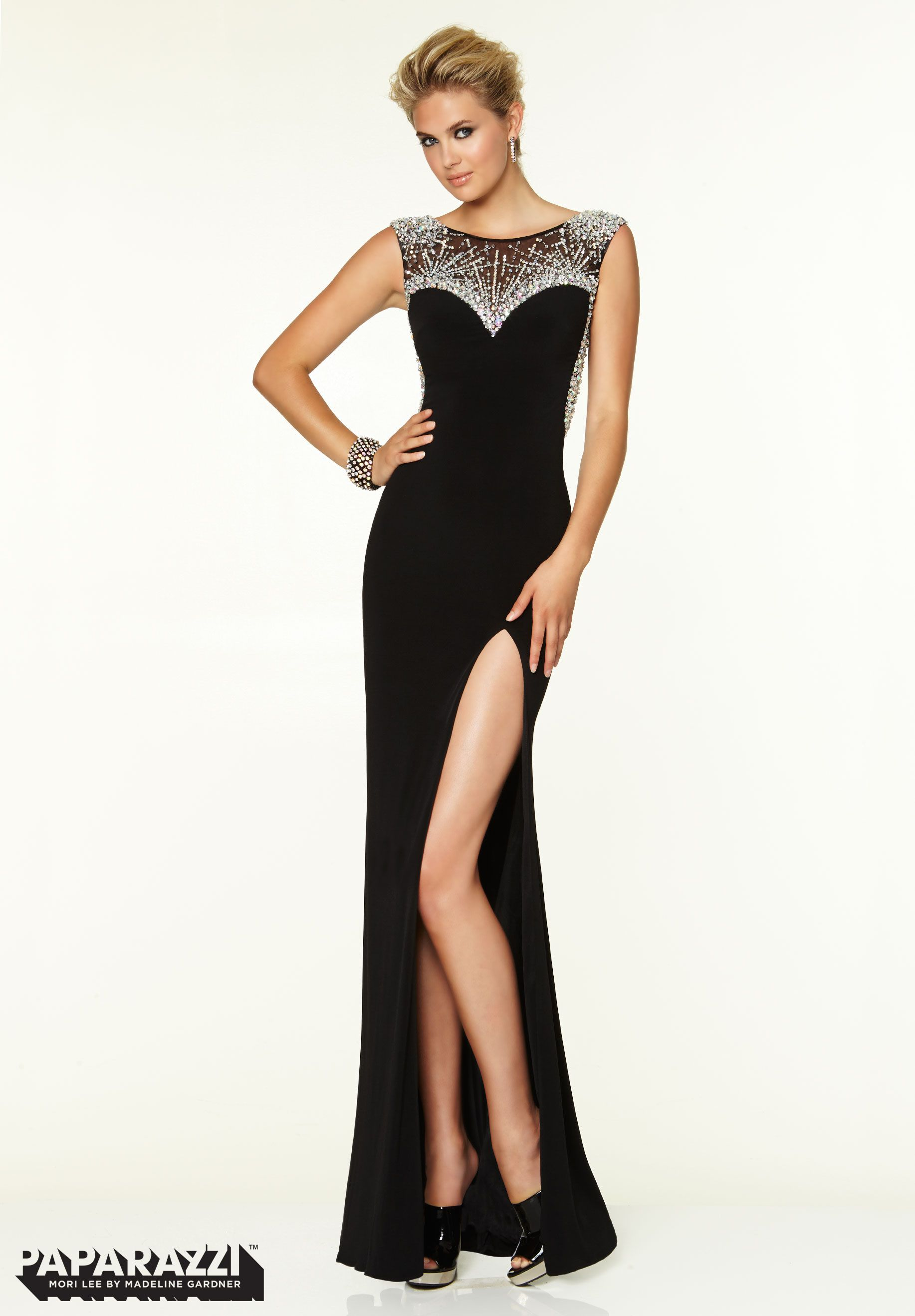 Prom dresses gowns style jersey with crystal beading