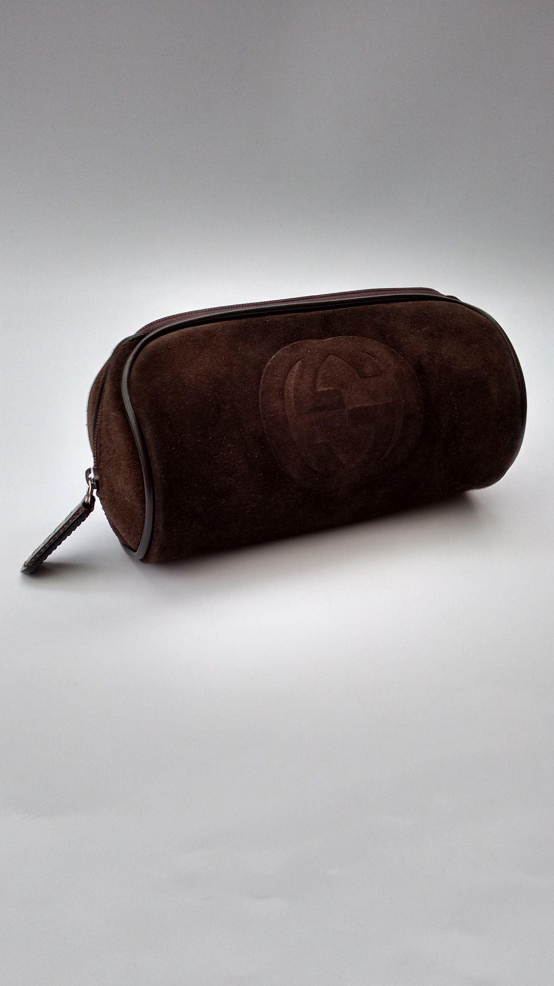 924257d2a0a6 GUCCI Purse. Gucci Vintage Brown Suede Leather Clutch / Cosmetic Bag.  Italian Designer Purse.