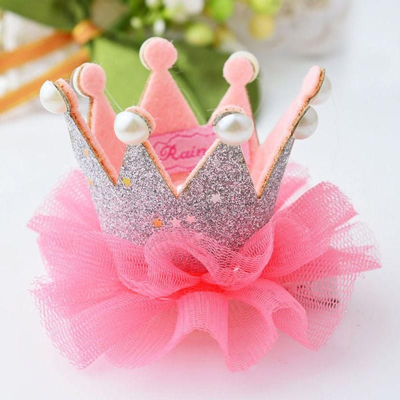 1 X Cute Baby Girls Crown Princess Hair Clip Lace Pearl Shiny Star Hair Accessories