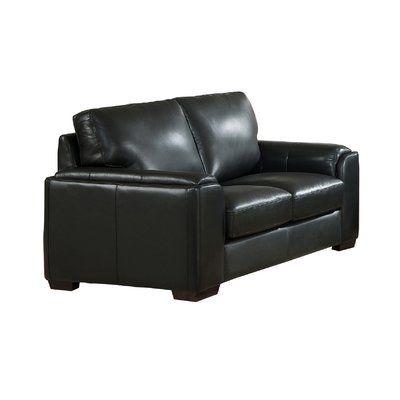 Orren Ellis Hadley Craft Leather Loveseat Upholstery Black Leather Loveseat Leather Craft Love Seat