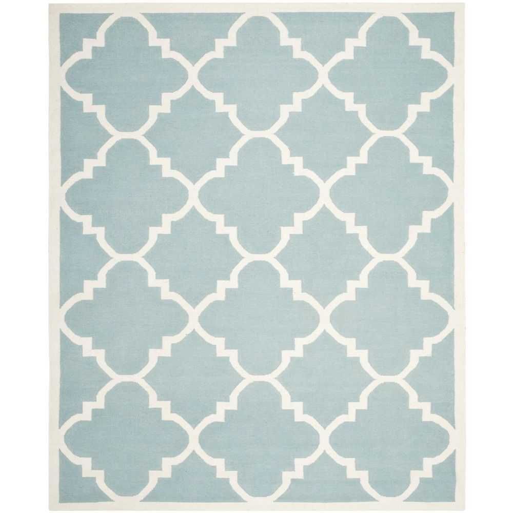 Hand Woven Moroccan Dhurrie Light Blue Wool Rug 9 X 12