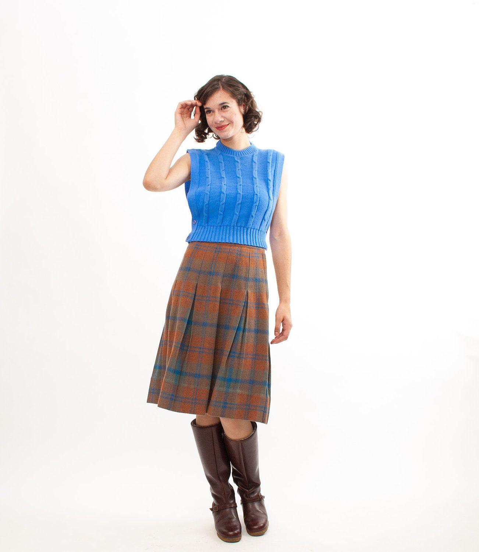 19ce83fd0 Vintage 1960s Wool Skirt - 60s Plaid Skirt - Blue and Brown Plaid. via Etsy.