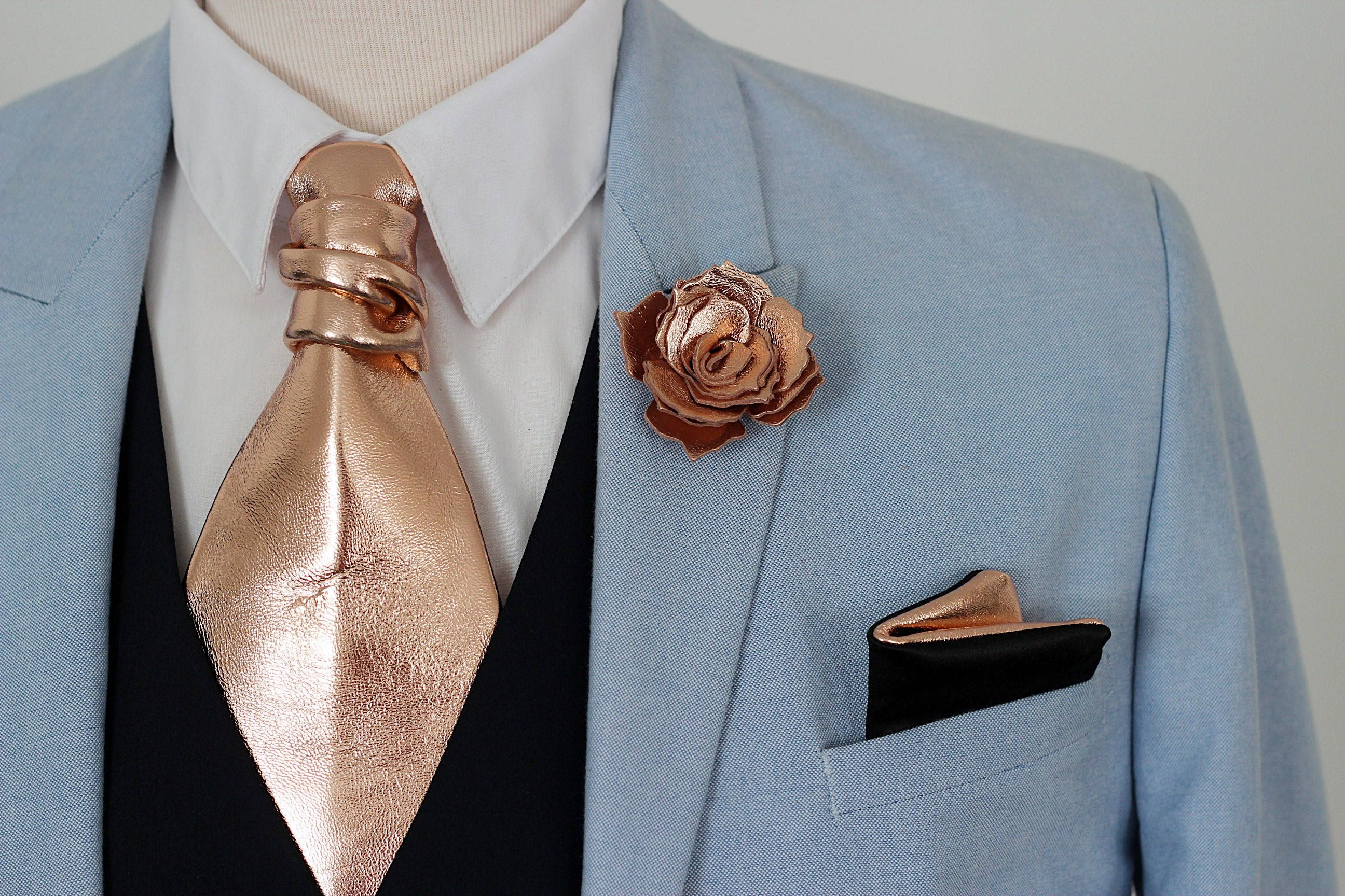 db002d4a217a Rose Gold leather ascot neck tie for men, boys rose gold wedding necktie,  bowtie genuine leather,mauve, suspenders, bow tie,cooper cravat by ...