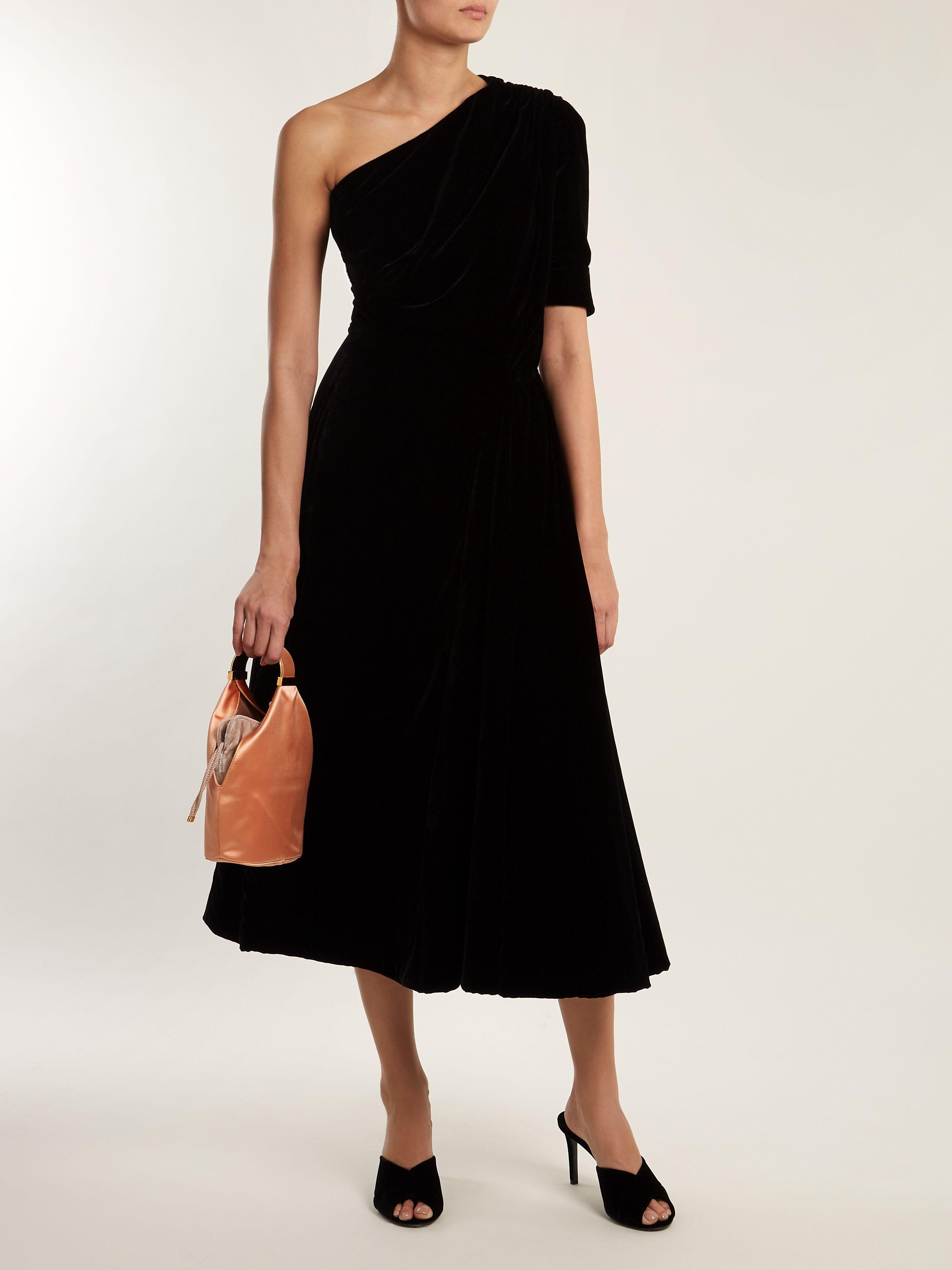 Extremely Release Dates For Sale Jenna one-shoulder velvet midi dress Emilia Wickstead Sale Low Price jerHXQ