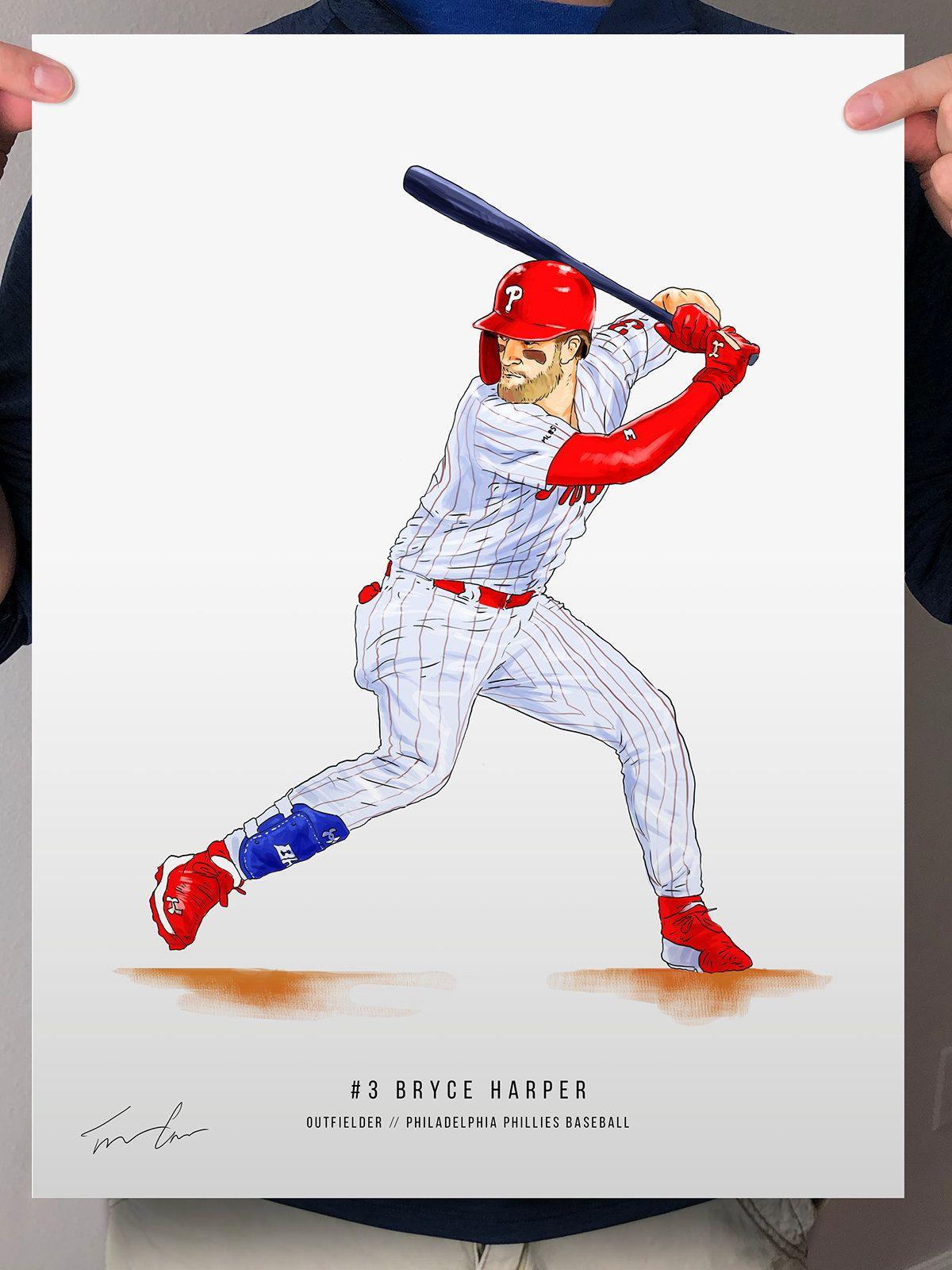 Bryce Harper Philadelphia Phillies Baseball Illustrated Print Etsy In 2021 Philadelphia Phillies Baseball Philadelphia Phillies Phillies Baseball