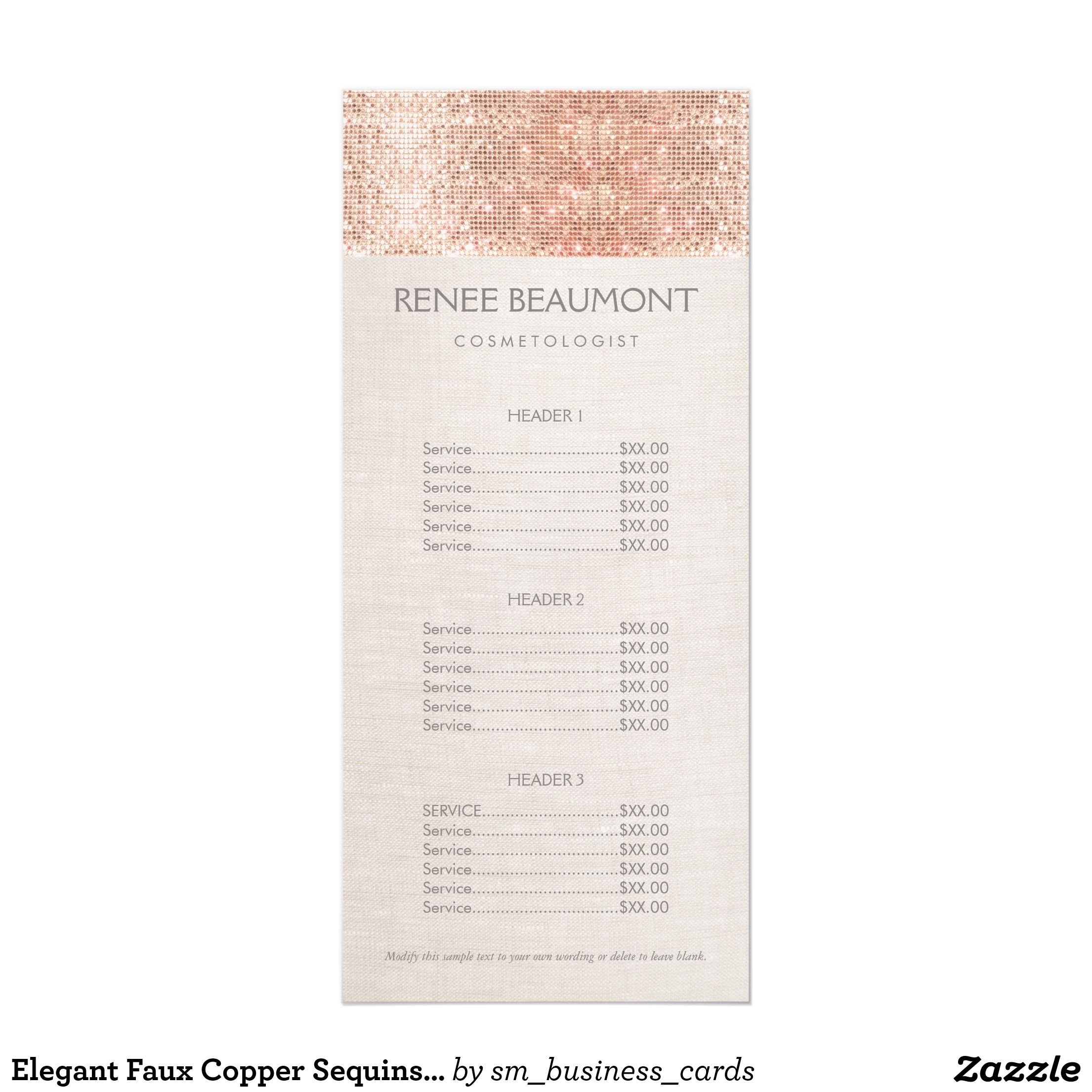 Elegant Faux Copper Sequins Salon Price List Menu Zazzle