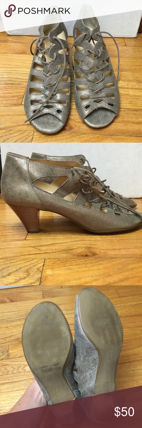 Paul Green sandals Size: 6 NWOT Paul Green 'Prague' lace up sandals worn once and are in perfect condition. 2 inch heel. Are a soft suede leather with bronze/metallic shimmer. Comes without box. Will be shipped next day. Paul Green Shoes Sandals