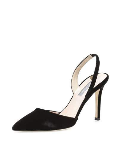 SJP BY SARAH JESSICA PARKER Bliss Velvet 90Mm Slingback Pump, Black. #sjpbysarahjessicaparker #shoes #pumps