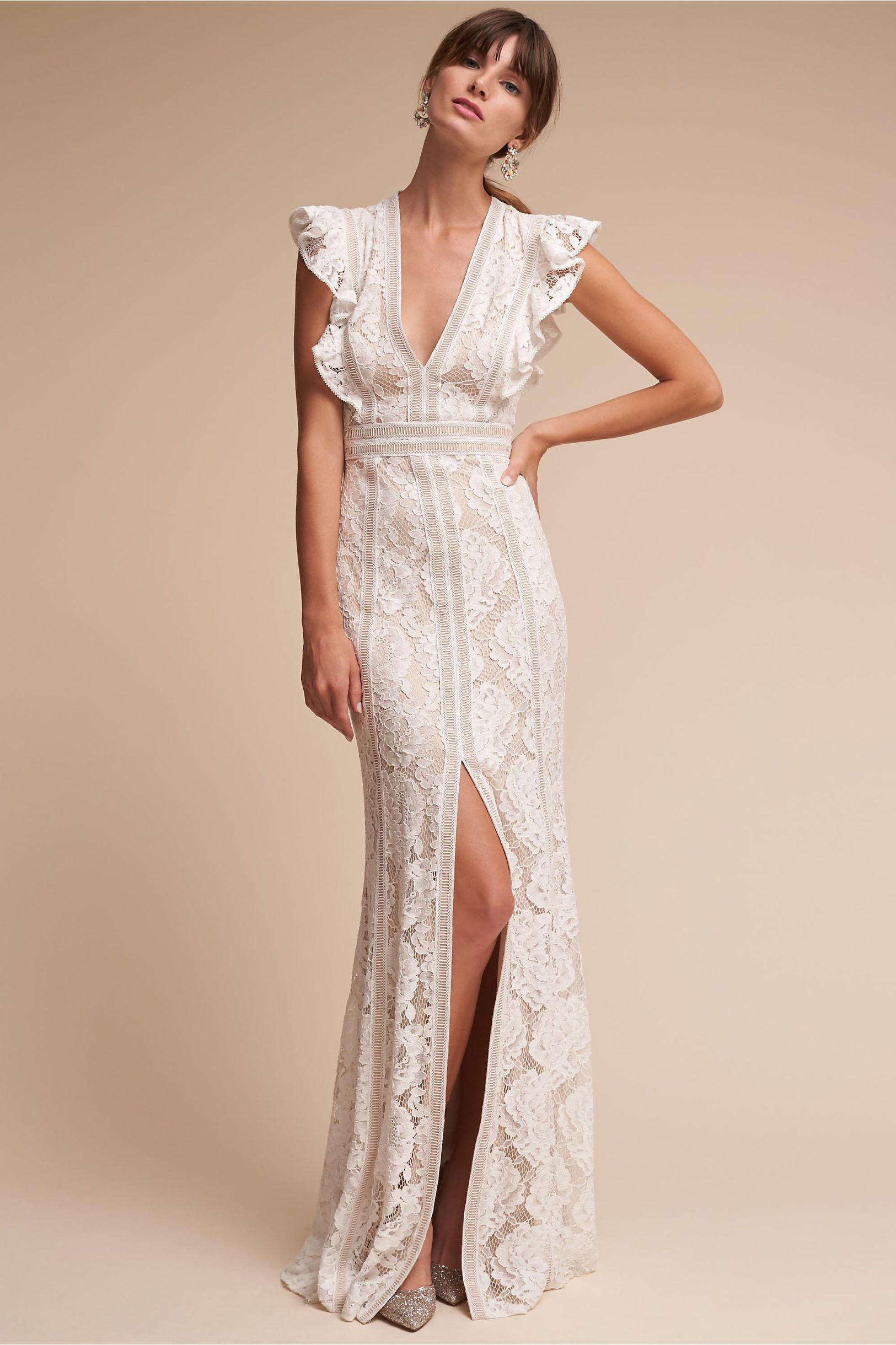 BHLDN\'s Tadashi Shoji Placid Gown in Ivory/natural | Ivory, Gowns ...