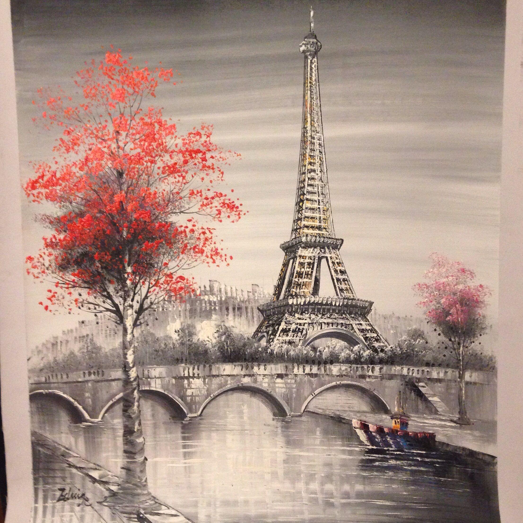 Oil Painting Paris European City Landscape France Wallpaper