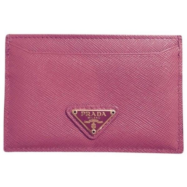 Pre-owned Saffiano Triangle Leather Credit Card Holder (2.500 ARS) ❤ liked on Polyvore featuring accessories, peonia and prada