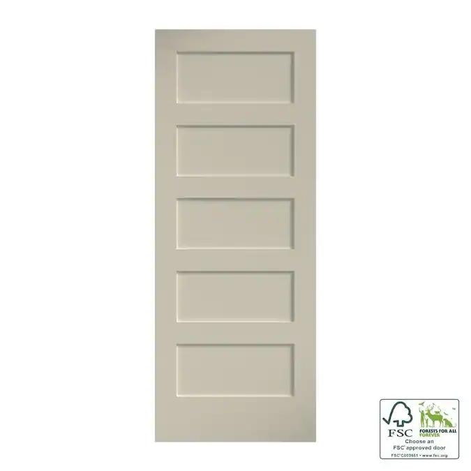 Eightdoors Shaker 30 In X 80 In Primed White 5 Panel Square Solid Core Mdf Slab Door Lowes Com In 2020 Slab Door Pine Doors Wood Slab