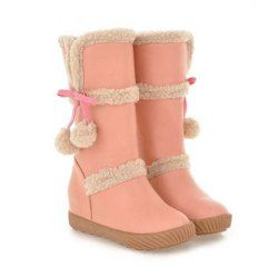 $22.81 Sweet Women's Mid-Calf Boots With Faux Fur and Bows Design