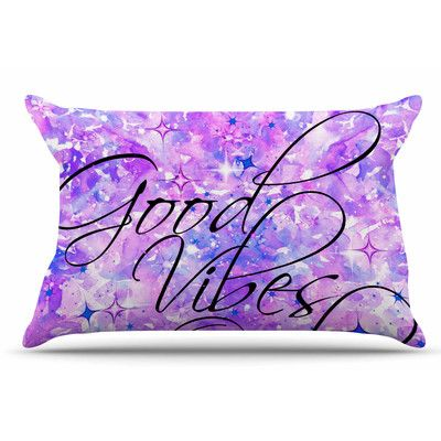 East Urban Home Good Vibes Only by Ebi Emporium Pillow Sham Size: Standard, Color: Purple/Lavender