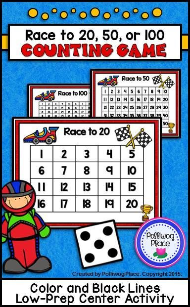 Counting Numbers Game Race To 20 50 Or 100 Race Cars Number Games Math Center Activities Counting Games