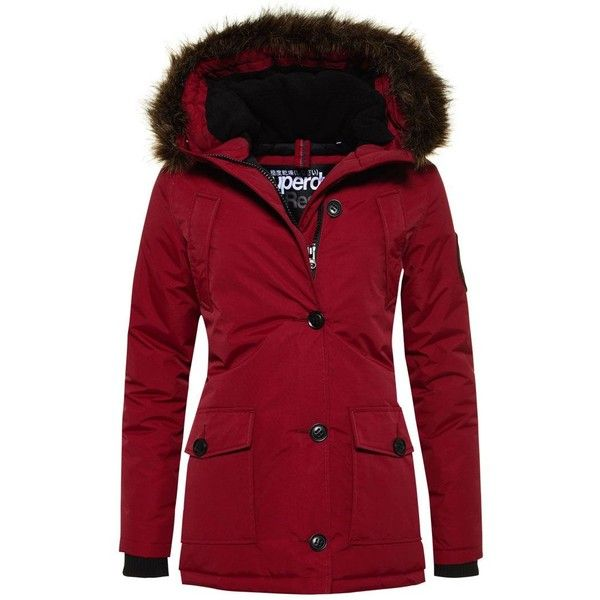 Superdry Everest Parka Jacket (585 ILS) ❤ liked on Polyvore featuring outerwear, jackets, coats, wine, women, fleece lined nylon jacket, red parkas, superdry jacket, fleece lined parka and parka jacket