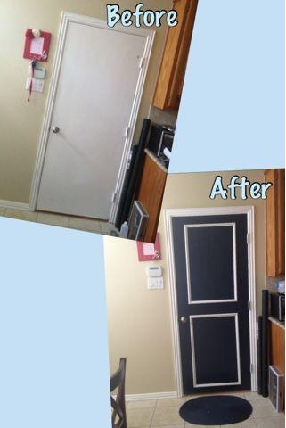Quick Door Update Update Your Closet Doors With A Bit Of Trim And Paint Home Remodeling My Home Design Chalkboard Door