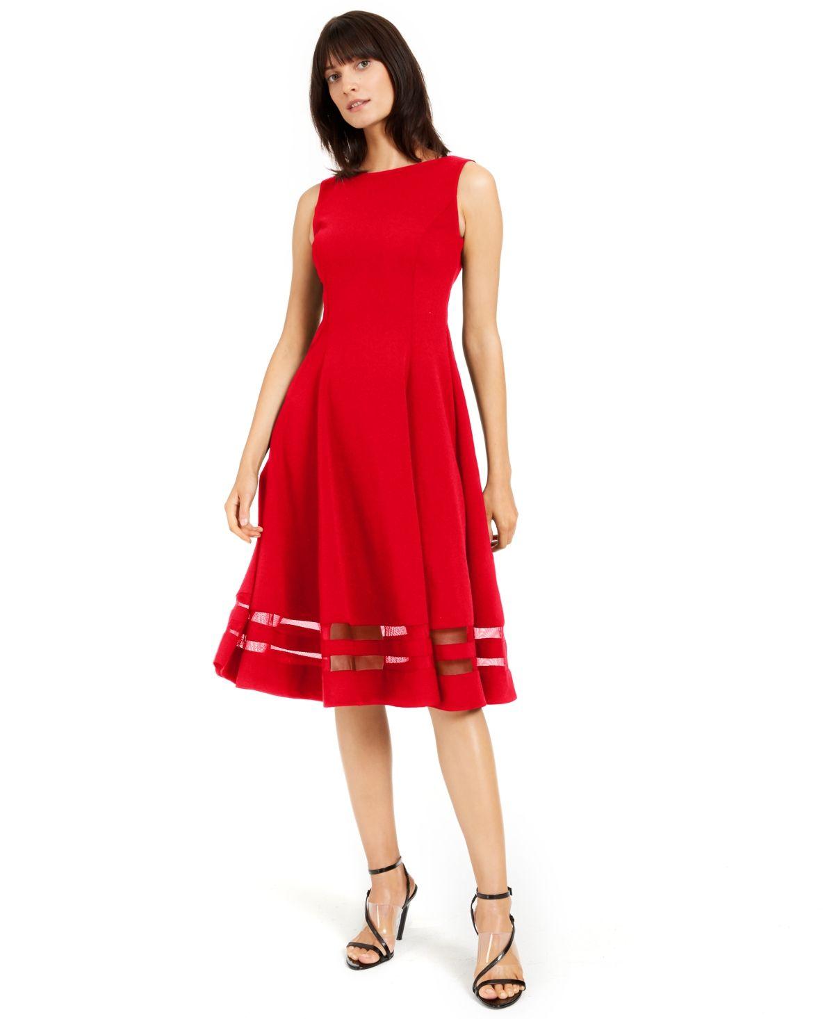 Calvin Klein Illusion Trim Fit Amp Flare Midi Dress Capri