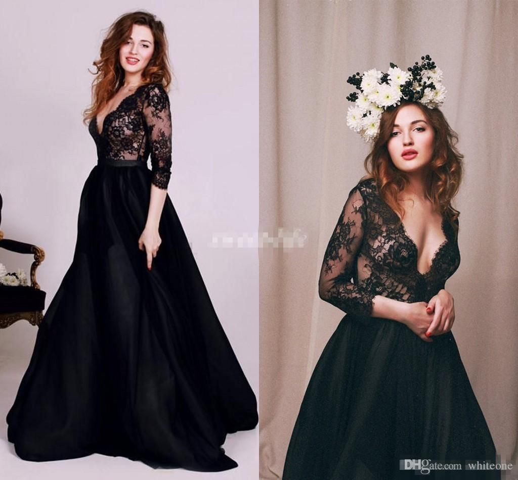 Prom Dresses Under 50 Cheap Black Sexy Prom Dresses 2016 With Long Sleeves Deep V Neck Sheer Lace Wedding Evening Party Gown Arabic Dubai Style Occasion Wears Purple Prom Dress From Whiteone, $128.29| Dhgate.Com