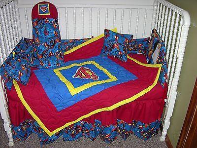 NEW CRIB NURSERY BEDDING SET MADE/W SUPERMAN FABRIC *DOUBLE BATTING* in Baby, Nursery Bedding, Nursery Bedding Sets   eBay