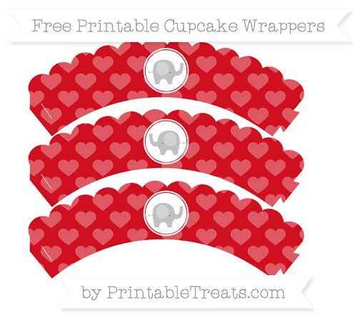 Free Lava Red Heart Pattern Baby Elephant Scalloped Cupcake Wrappers
