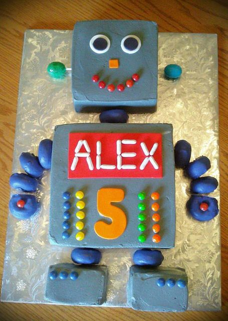 Simply Sweet Robot Cake 5th Birthday In 2019 Robot