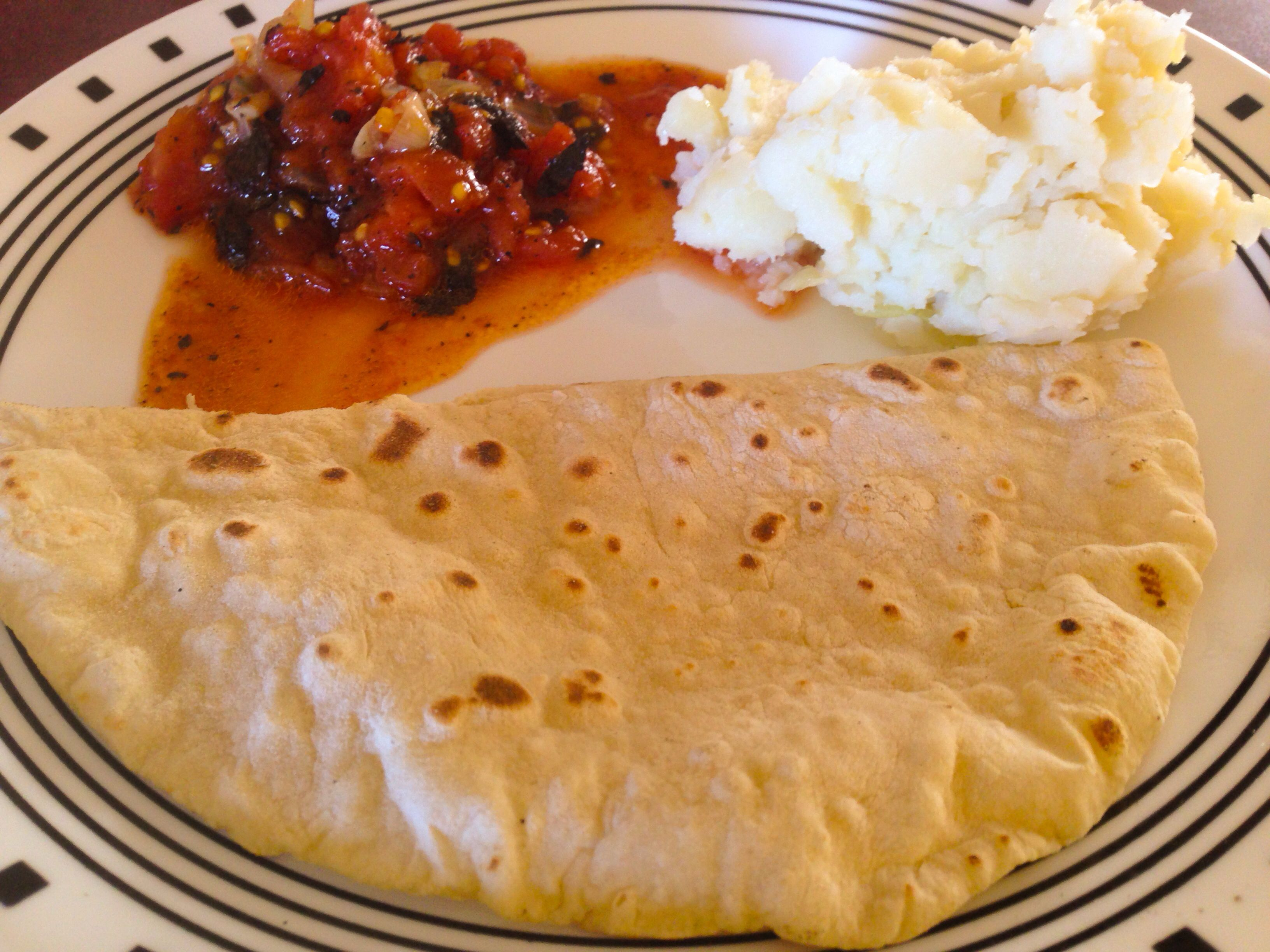 Mom made local breakfast food for me one day! It's Sada roti