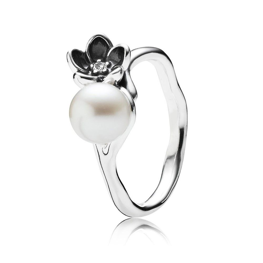 18cb0611d ... Special Discount For Pandora Mystic Floral with White Pearl, Clear CZ  and Black Enamel Ring ...