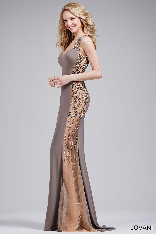 fb0afd51c Gunmetal/Nude Fitted Jersey Prom Dress 27431 Madrinhas De Casamento, Vestido  Madrinha, Vestido