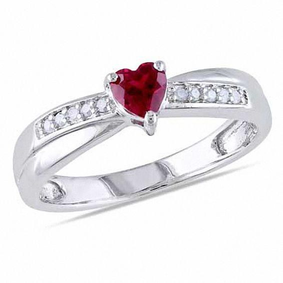 Zales 4.0mm Princess-Cut Lab-Created White Sapphire and 1/20 CT. T.w. Diamond Promise Ring in Sterling Silver xn612MZGD