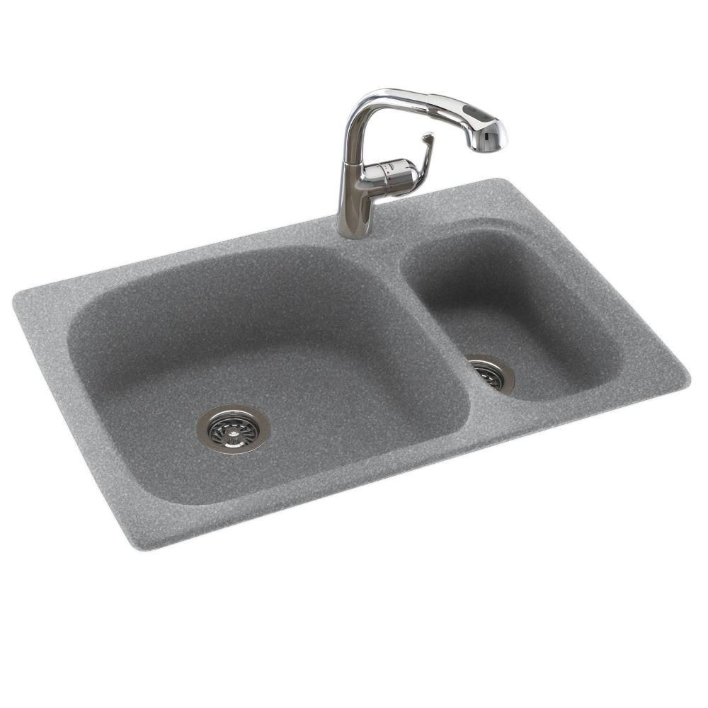 Swan Drop In Undermount Solid Surface 33 In 1 Hole 70 30 Double
