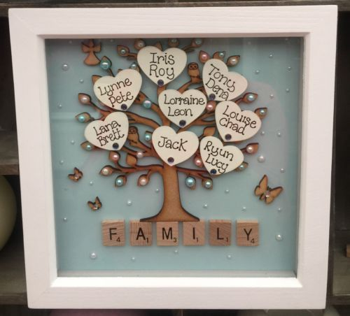 Family Picture Ideas For Wedding: Details About Personalised Family Tree Box Frame Scrabble