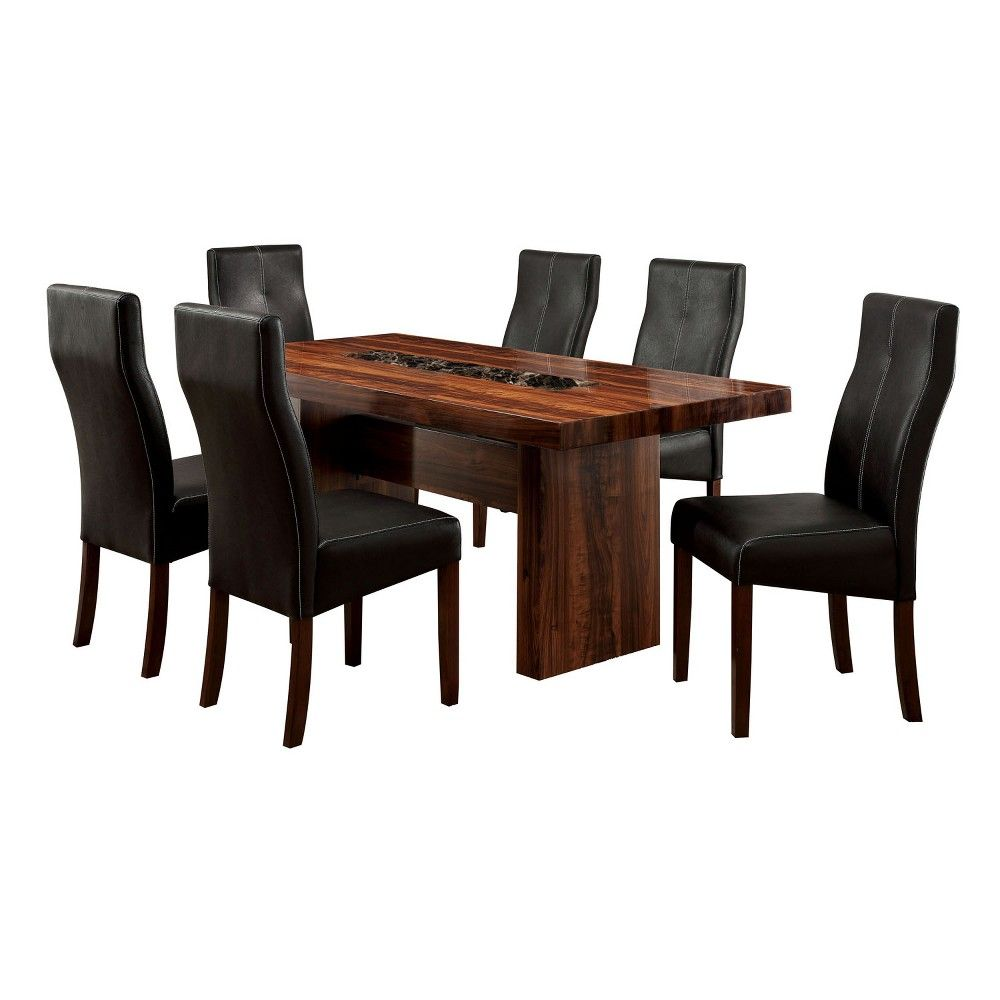 7pc Kerning Faux Marble Top Block Dining Table Set Brown Cherry