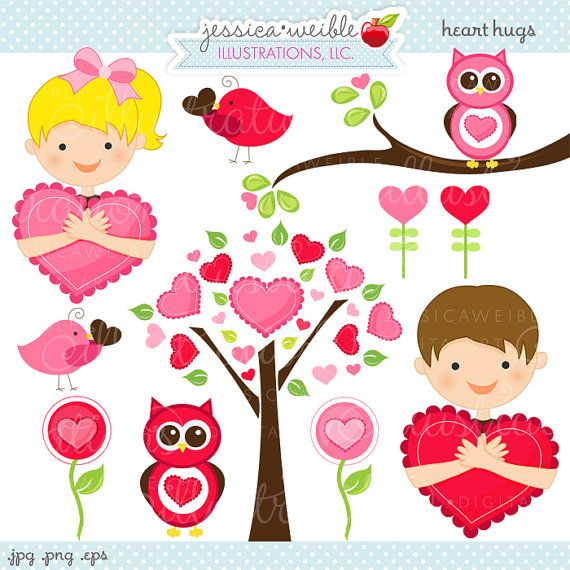 Heart Hugs Cute Valentine Graphics - Commercial Use OK - Kids ...