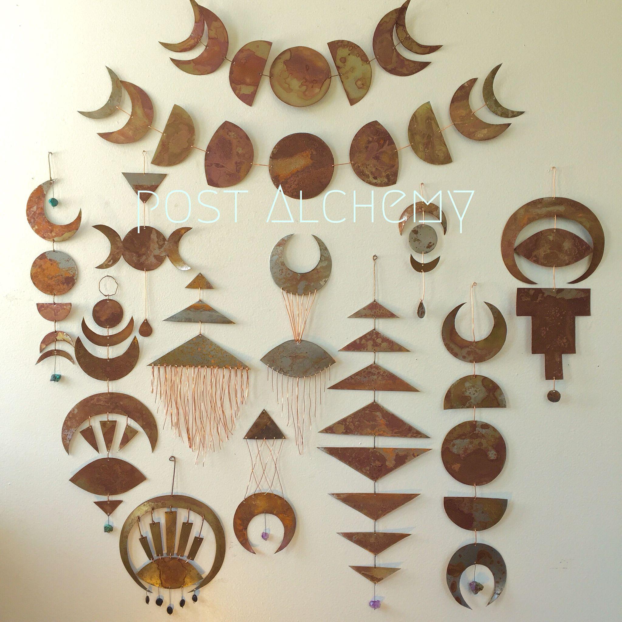 Symbolic Metal Wall Hangings Made By Melanie Mccallum Of Postalchemy Etsy Shop Clay Wall Hanging Diy Wall Art Hanging Wall Decor