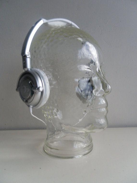Vintage Glass Head Male Hat Wig Headphone Mannequin Head