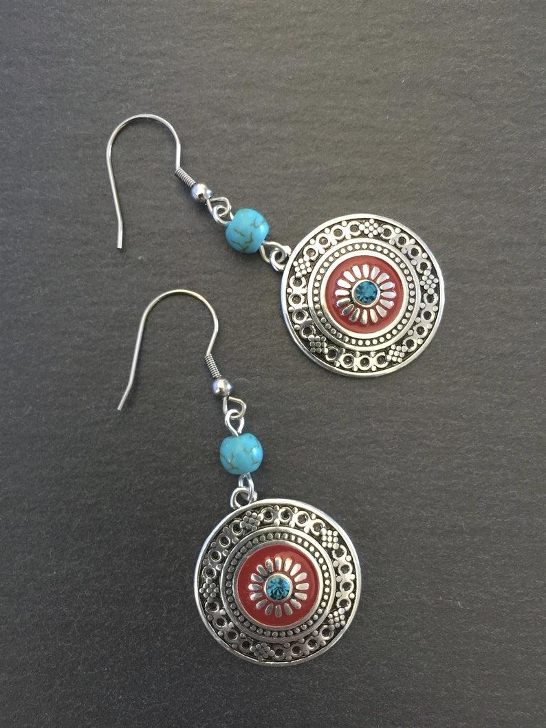 Ethnic Cord Earrings with Turquoise